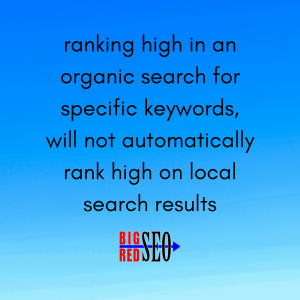 SEO Marketing expert states, ranking high in an organic search for specific keywords, will not automatically rank high on local search results