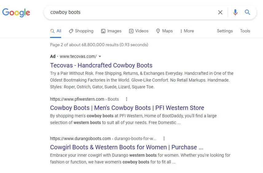Adwords listings versus organic listings