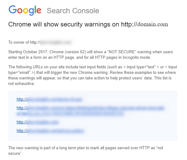 Letter From Google About HTTPS Warnings To Webmasters