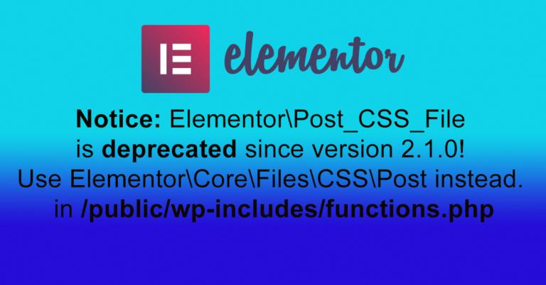 elementor error notice Post CSS File