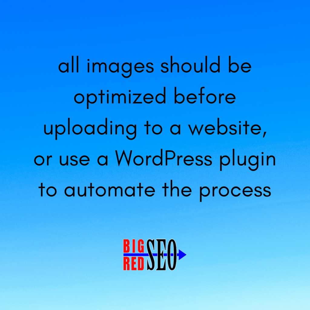 web design services recommend to optimize image sizes before uploading to site